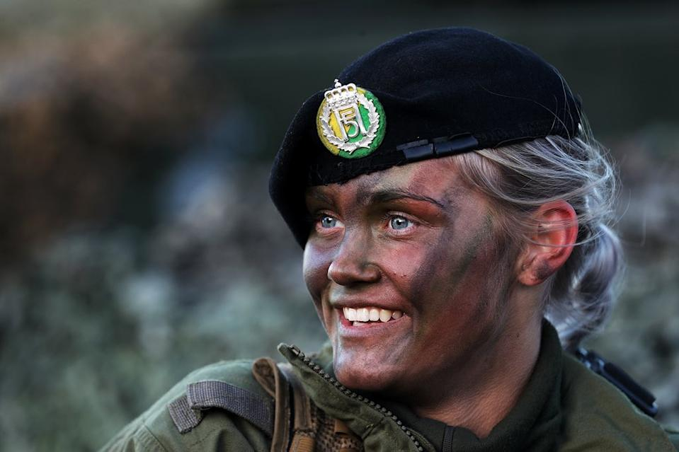 """Norwegian women have been serving in the military since 1938, and women served across all branches of the military during World War II. However, political changes in 1947 confined women to clerical positions. A series of progressive legislations were passed by the Norwegian Parliament between 1977 and 1985 which expanded the role of women in the military and, in 1985, Norway became the first NATO nation to allow women to serve in combat capacities. In 2014, Norway also set up the Hunter Troop – the world's first all-female special forces training programme. <em><strong>Image credit:</strong></em> <a href=""""https://twitter.com/NorwegianArmy/status/1057393124169969665/photo/3"""" class=""""link rapid-noclick-resp"""" rel=""""nofollow noopener"""" target=""""_blank"""" data-ylk=""""slk:Twitter/Norwegian Army"""">Twitter/Norwegian Army</a>"""