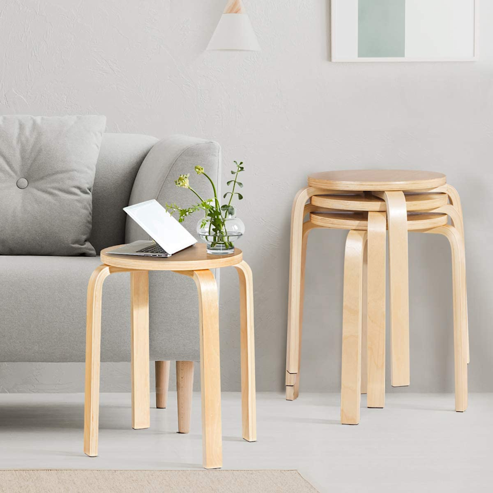 "<h3><a href=""https://amzn.to/3bIYbnF"" rel=""nofollow noopener"" target=""_blank"" data-ylk=""slk:Costway Brentwood Stacking Stools"" class=""link rapid-noclick-resp"">Costway Brentwood Stacking Stools</a></h3><br><strong>When the accent chair of your dreams just won't fit</strong>: Invest in a set of these Scandinavian style stools instead as a modern accent that stacks up to save space.<br><br><strong>Costway</strong> 18-inch Bentwood Stools, Set of 4, $, available at <a href=""https://amzn.to/3bIYbnF"" rel=""nofollow noopener"" target=""_blank"" data-ylk=""slk:Amazon"" class=""link rapid-noclick-resp"">Amazon</a>"