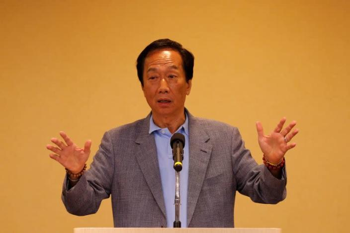 Foxconn Technology Group founder and chairman, Terry Gou, speaks during a news conference in Taipei