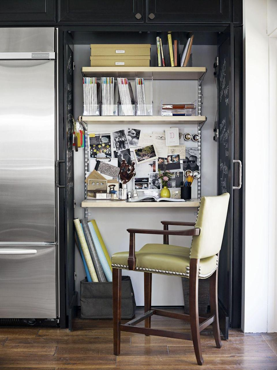 <p>This converted kitchen pantry proves that you can make just about any space work-friendly with the right organizational tools. If your surface area is large enough, use trays on the desk to corral odds and ends and keep your papers organized. If you don't have room on your desk, secure a corkboard to the wall and take advantage of vertical real estate.</p>
