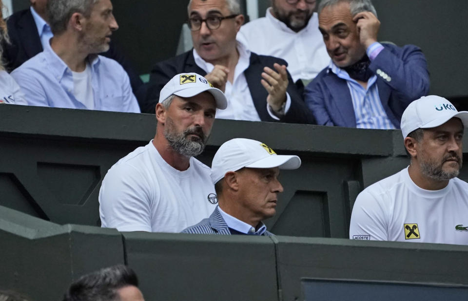 Former tennis player Goran Ivanisevic watches the men's singles semifinals match between Serbia's Novak Djokovic and Canada's Denis Shapovalov on day eleven of the Wimbledon Tennis Championships in London, Friday, July 9, 2021. (AP Photo/Alberto Pezzali)