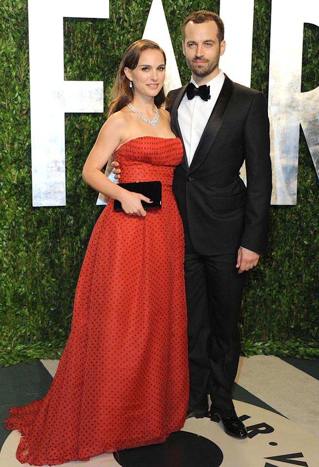 WEST HOLLYWOOD, CA - FEBRUARY 26:  Actress Natalie Portman and Benjamin Millepied attend the 2012 Vanity Fair Oscar Party at Sunset Tower on February 26, 2012 in West Hollywood, California.  (Photo by Jon Kopaloff/FilmMagic)