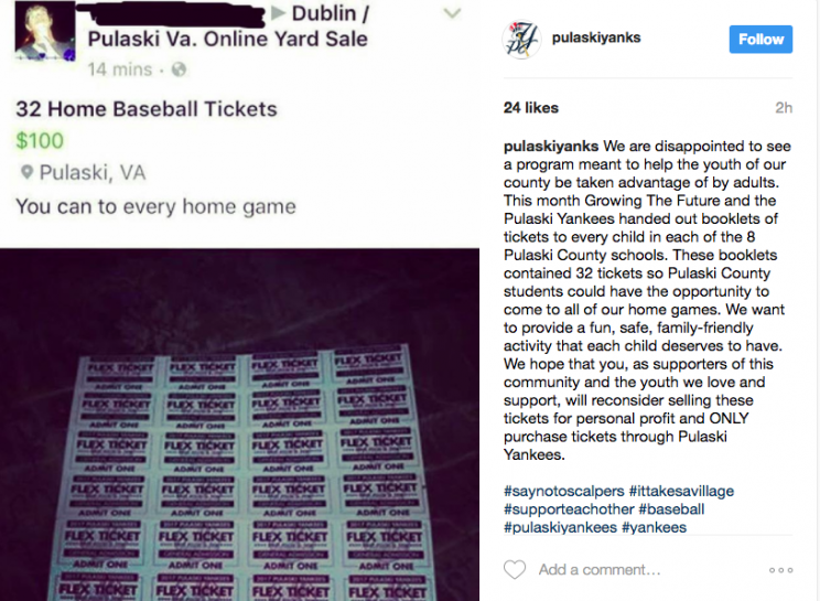 One fan is tying to ruin a fun gesture from the Pulaski Yankees. (@pulaskiyanks Screenshot on Instagram)