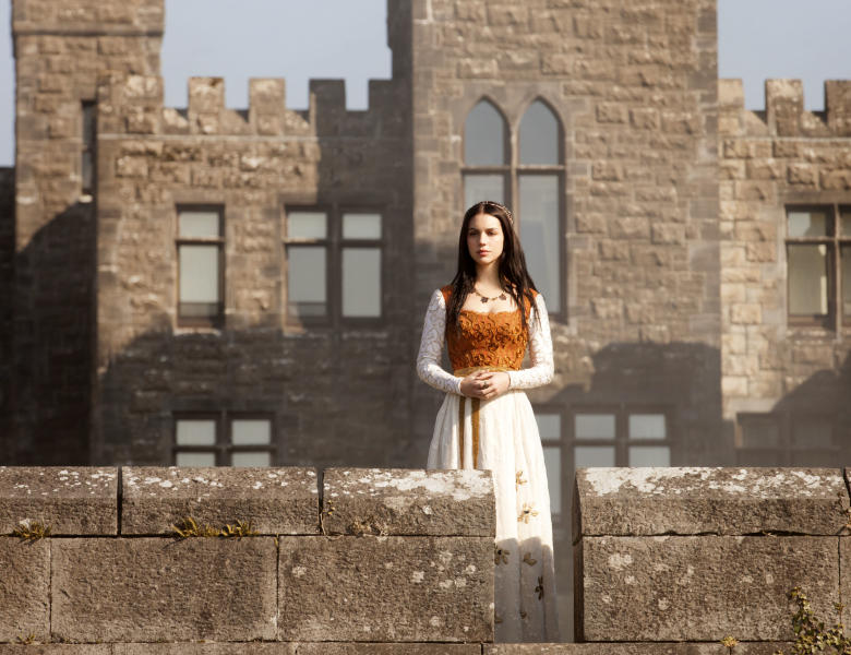 "This publicity image released by The CW shows Adelaide Kane as Mary, Queen of Scots in the pilot episode of ""Reign,"" premiering Oct. 17 at 9 p.m. EST on the CW network. (AP PhotoThe CW, Joss Barratt)"