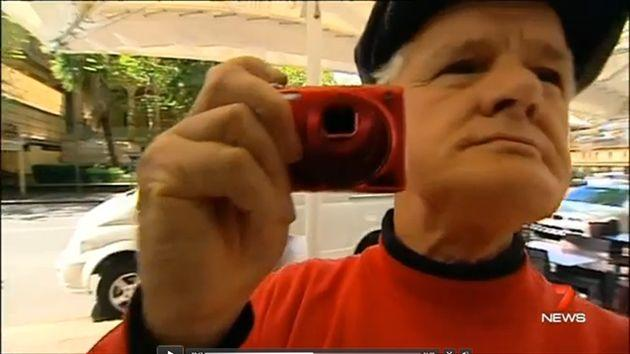Another senior Scientologist Harry Crawford was on hand, though it's not clear why. Photo: 7 News