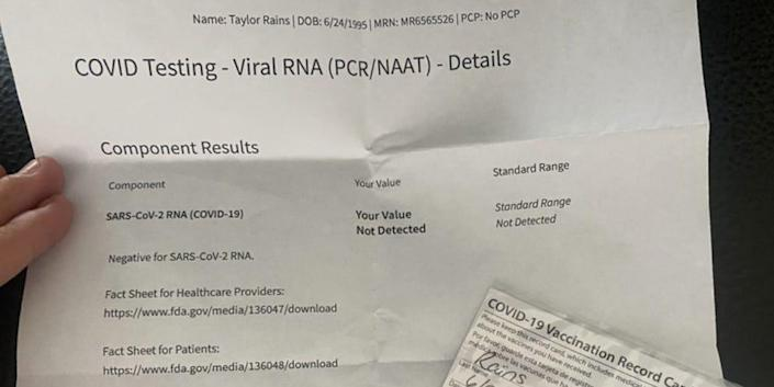 Vaccine card and negative covid test