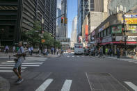<p>Pedestrians walk across Broadway at the intersection of Cortlandt Street, just down the street from the World Trade Center site, in New York City on Sept. 5, 2018. (Photo: Gordon Donovan/Yahoo News) </p>