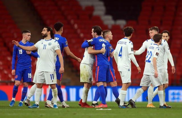 England and San Marino players embrace after Thursday's qualifier at Wembley