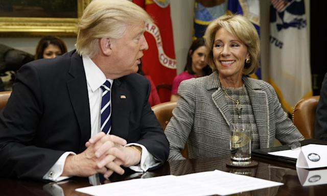 """<span class=""""element-image__caption"""">'This news should surprise no one who's been paying attention to DeVos's actions in office.'</span> <span class=""""element-image__credit"""">Photograph: Evan Vucci/AP</span>"""