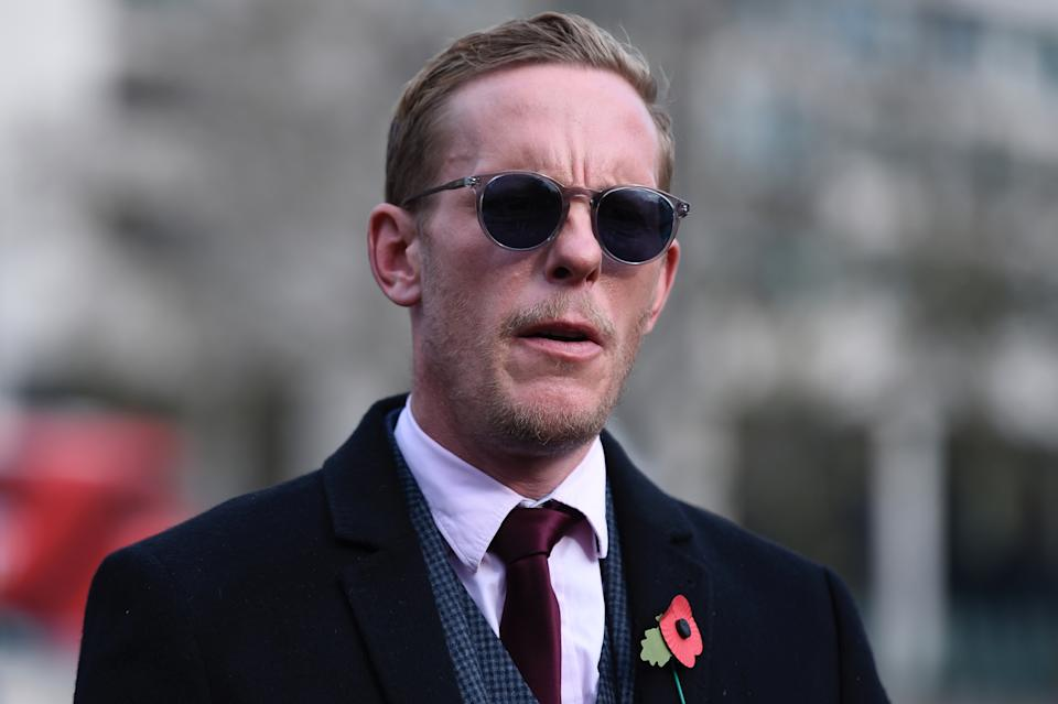 Laurence Fox, leader of the Reclaim party, attends a Remembrance Sunday ceremony at the Royal Artillery War Memorial in Hyde Park Corner, in London on November 8, 2020. - Remembrance Sunday is an annual commemoration held on the closest Sunday to Armistice Day, November 11, the anniversary of the end of the First World War and services across Commonwealth countries remember servicemen and women who have fallen in the line of duty since WWI. This year services have been cancelled or paired back due to the novel coronavirus COVID-19 pandemic. (Photo by DANIEL LEAL-OLIVAS / AFP) (Photo by DANIEL LEAL-OLIVAS/AFP via Getty Images)