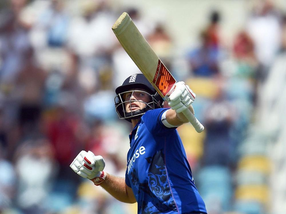 Root celebrates after scoring his century during the final of the three-match One Day International series between England and West Indies (Getty)