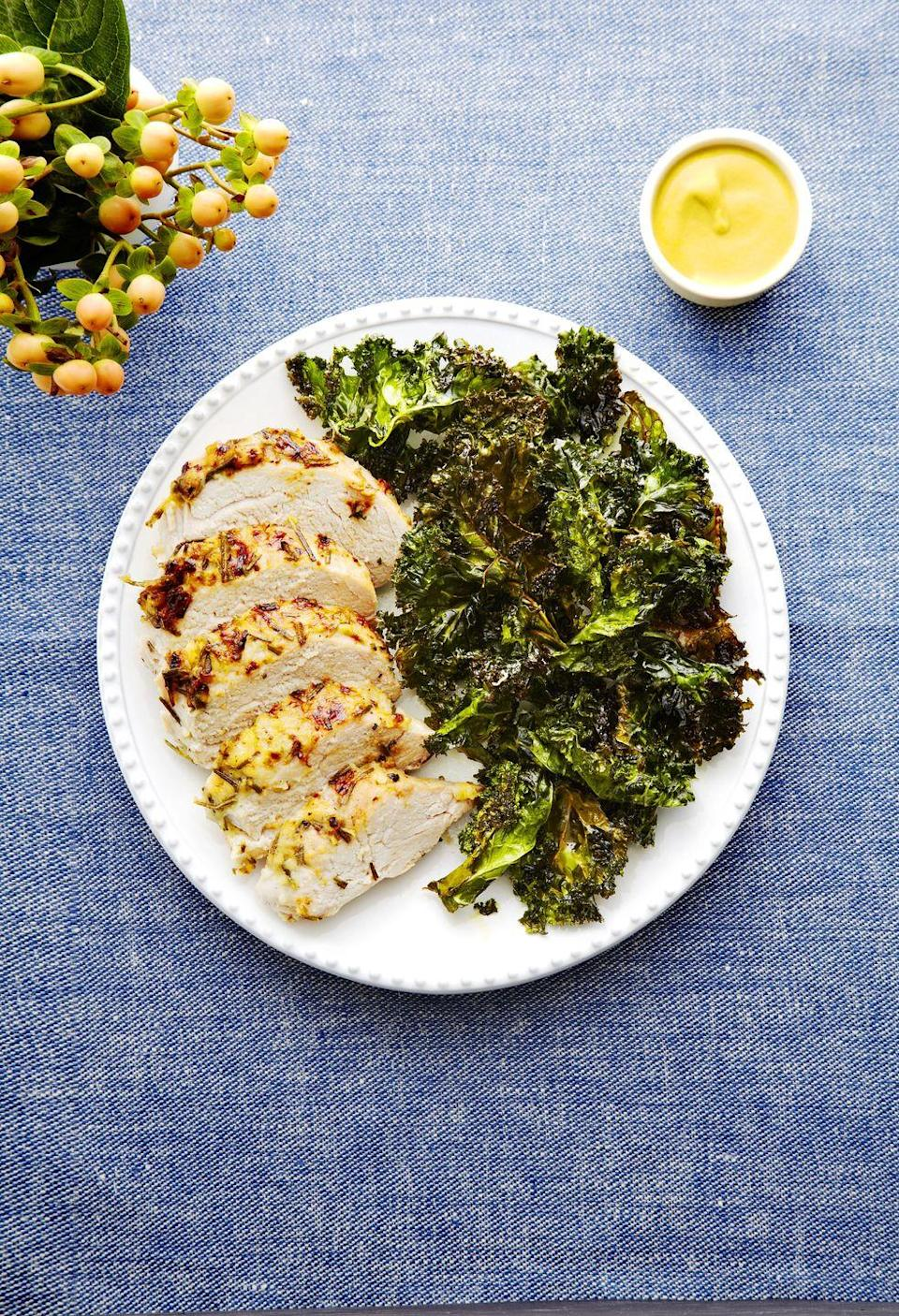 "<p>When roasted, kale makes a wonderful, healthier stand-in to crispy chips. Keep that in mind for whenever a salty craving strikes.</p><p><a href=""https://www.goodhousekeeping.com/food-recipes/a14780/pork-crispy-kale-recipe-ghk1114/"" rel=""nofollow noopener"" target=""_blank"" data-ylk=""slk:Get the recipe for Pork with Crispy Kale »"" class=""link rapid-noclick-resp""><em>Get the recipe for Pork with Crispy Kale »</em></a></p>"