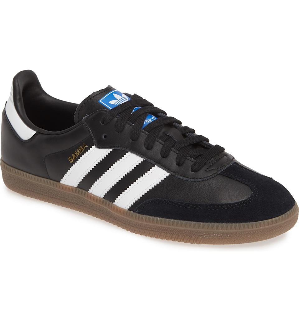"<p><strong>Adidas</strong></p><p>nordstrom.com</p><p><strong>$47.96</strong></p><p><a href=""https://go.redirectingat.com?id=74968X1596630&url=https%3A%2F%2Fshop.nordstrom.com%2Fs%2Fadidas-samba-og-sneaker-men%2F5624928&sref=https%3A%2F%2Fwww.esquire.com%2Fstyle%2Fmens-fashion%2Fg32437686%2Fnordstrom-stan-smith-adidas-sale%2F"" rel=""nofollow noopener"" target=""_blank"" data-ylk=""slk:Buy"" class=""link rapid-noclick-resp"">Buy</a></p>An ultra-low profile brings skater attitude to the Samba indoor-soccer shoe that still sports classic detailing like serrated 3-Stripes and a gum-colored sole."