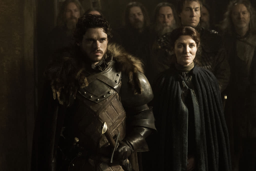 "Richard Madden and Michelle Fairley in the ""Game of Thrones"" episode, ""The Rains of Castamere."""