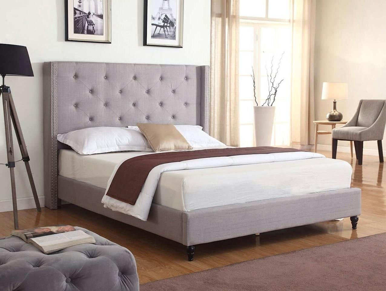 """<p>This luxe <a href=""""https://www.popsugar.com/buy/Life%20Home%20Premiere%20Classic%20Bed-428555?p_name=Life%20Home%20Premiere%20Classic%20Bed&retailer=amazon.com&price=170&evar1=casa%3Aus&evar9=46356293&evar98=https%3A%2F%2Fwww.popsugar.com%2Fhome%2Fphoto-gallery%2F46356293%2Fimage%2F46356348%2FLife-Home-Premiere-Classic-Bed&list1=amazon%2Cfurniture%2Cbedrooms%2Cshoppping%2Chome%20shopping&prop13=mobile&pdata=1"""" rel=""""nofollow"""" data-shoppable-link=""""1"""" target=""""_blank"""" class=""""ga-track"""" data-ga-category=""""Related"""" data-ga-label=""""https://www.amazon.com/Home-Premiere-Classics-Headboard-Platform/dp/B01G9B3LTK/ref=sr_1_15?keywords=velvet+bed+frame&amp;qid=1553802973&amp;s=gateway&amp;sr=8-15"""" data-ga-action=""""In-Line Links"""">Life Home Premiere Classic Bed</a> ($170-$285) looks triple the price. </p>"""