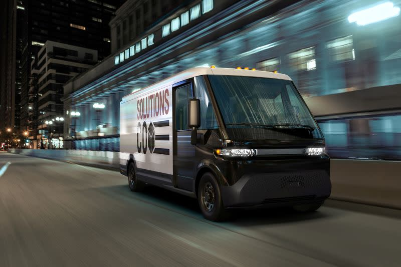 FILE PHOTO: GM's new EV600 electric van is seen in an undated photograph released in Detroit