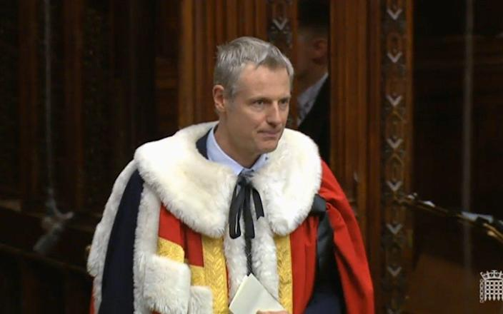 Lord Goldsmith wears faux fur in the House of Lords - House of Lords/PA Wire