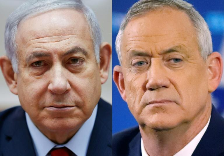 Right-wing Netanyahu (L) and centrist Gantz were nearly deadlocked after September elections, with neither able to command a majority in Israel's 120-seat parliament (AFP Photo/Oded Balilty, JACK GUEZ)