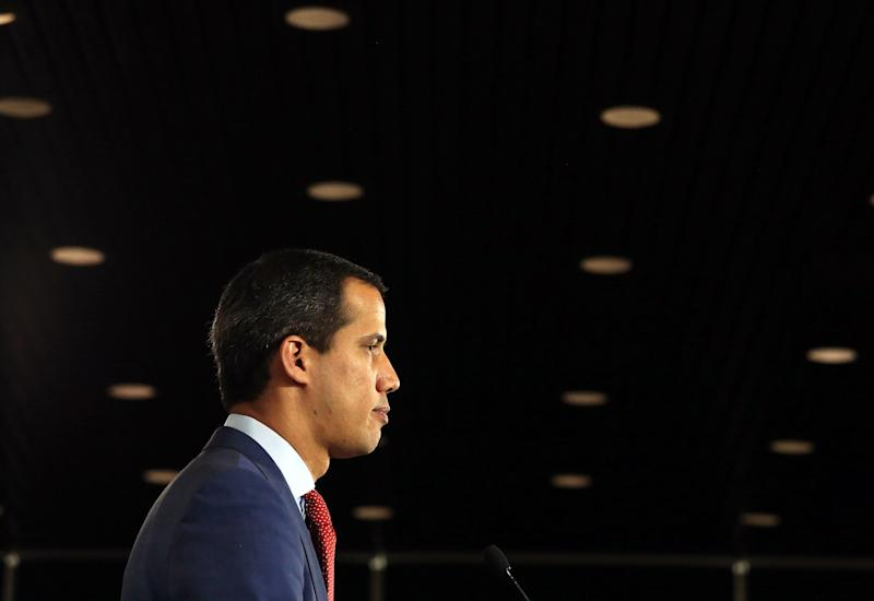 Venezuela's opposition leader Juan Guaidó pauses during a press conference on January 27, 2020 in Ottawa, Canada. (Photo by Dave Chan / AFP) (Photo by DAVE CHAN/AFP via Getty Images)