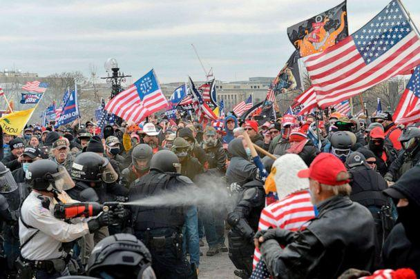 PHOTO: Trump supporters clash with police and security forces as people try to storm the US Capitol Building in Washington, Jan. 6, 2021. (Joseph Prezioso/AFP via Getty Images)