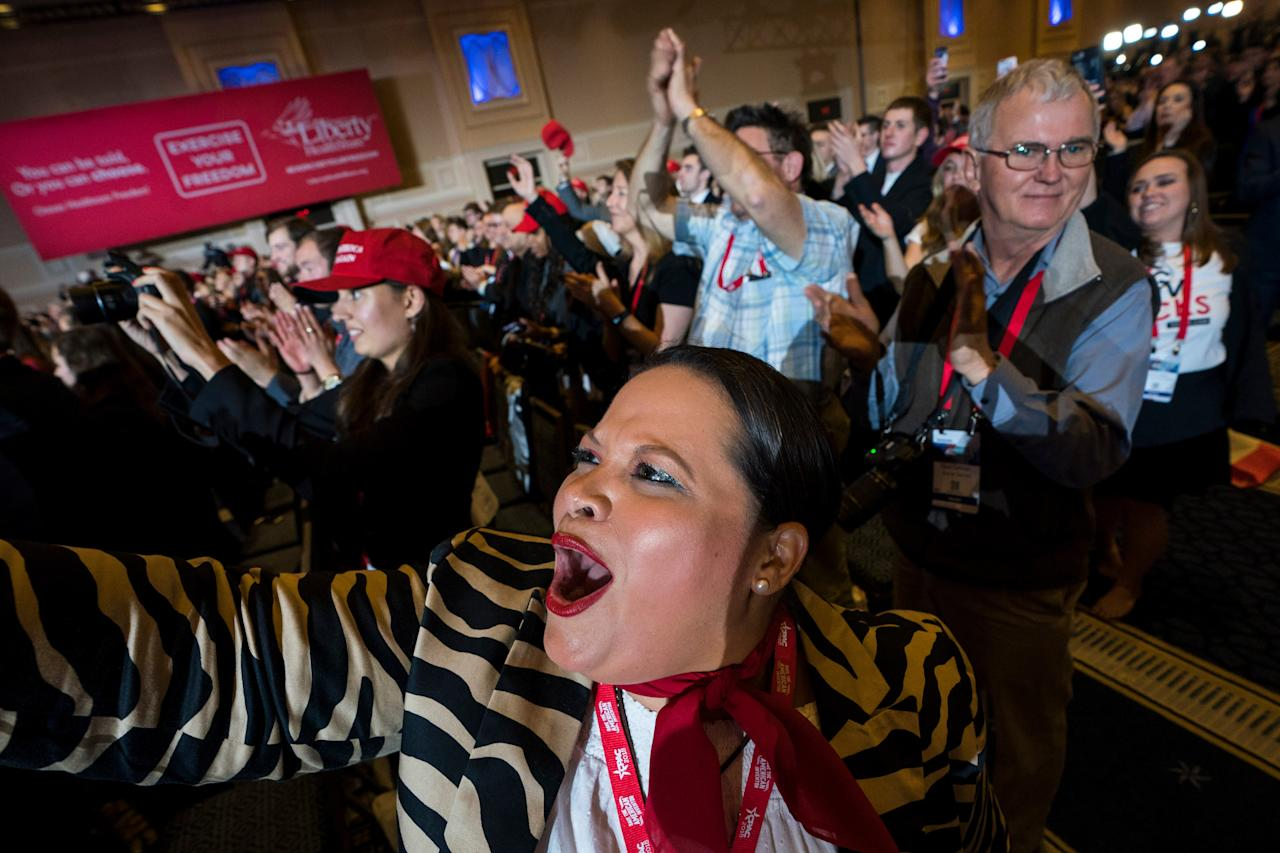 <p>Ana Veronica Lacayo cheers as US President Donald J. Trump addresses the 45th annual Conservative Political Action Conference (CPAC) at the Gaylord National Resort & Convention Center in National Harbor, Md., Feb. 22, 2018. (Photo: Jim Lo Scalzo/EPA-EFE/REX/Shutterstock) </p>