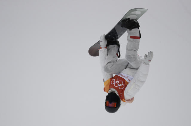 Shaun White jumps during the men's halfpipe finals at the 2018 Winter Olympics. (AP Photo)