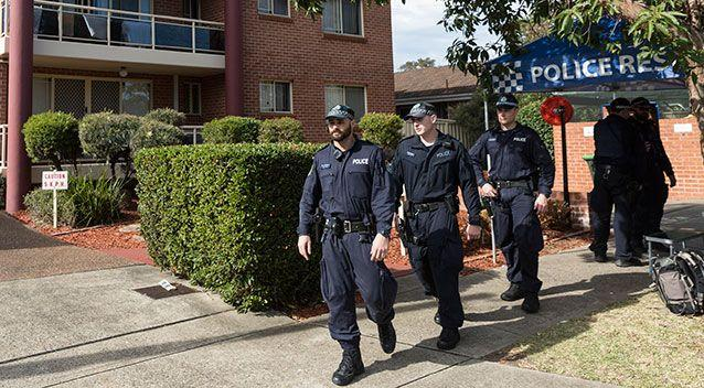 Police on the scene at an apartment complex in Sproule Street, Lakemba. Source: Getty Images