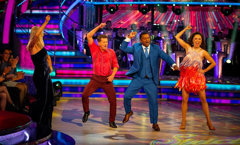 Alfonso Ribeiro shows Mike Bushell how to 'Jump On It' (Credit: BBC)