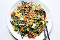 """A touch of fish sauce adds savory flavor and umami to this crunchy vegetable and fresh herb salad. <a href=""""https://www.epicurious.com/recipes/food/views/farro-and-tomato-salad-with-fish-sauce-vinaigrette-56389871?mbid=synd_yahoo_rss"""" rel=""""nofollow noopener"""" target=""""_blank"""" data-ylk=""""slk:See recipe."""" class=""""link rapid-noclick-resp"""">See recipe.</a>"""