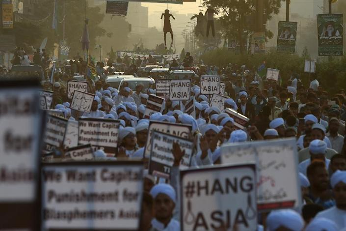 Asia Bibi's acquittal ignited days of violent demonstrations, with enraged Islamists calling for her beheading (AFP Photo/ASIF HASSAN)