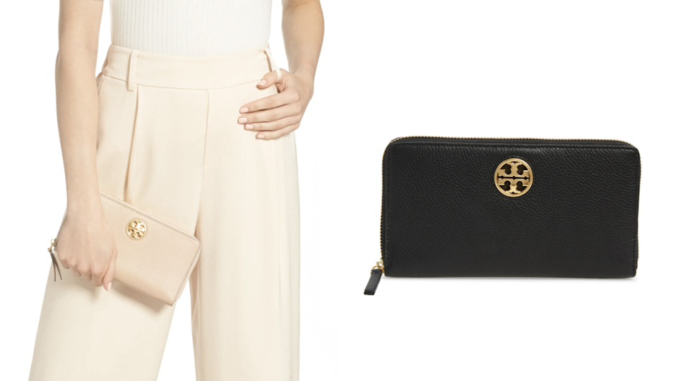 You can carry this Tory Burch wallet as a clutch or throw it in a tote.