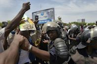 Dozens of supporters greeted Goita on his arrival back into Mali