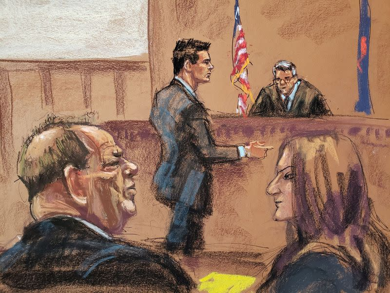 Lawyer Damon Cheronis argues in front of Judge James Burke during film producer Harvey Weinstein's sexual assault trial