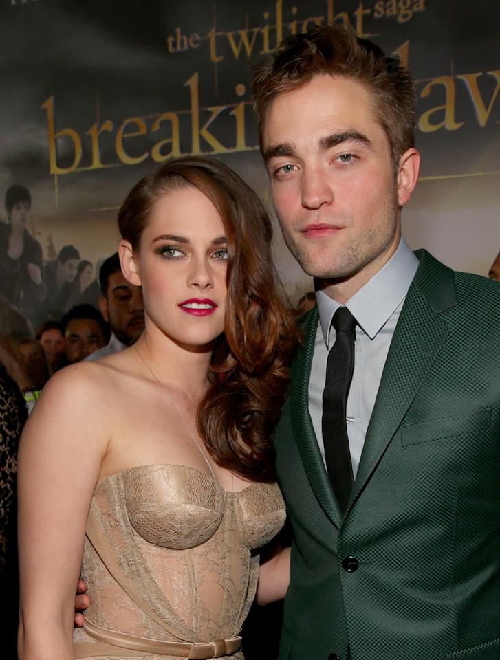 "Kristen Stewart (L) and Robert Pattinson arrive at the premiere of Summit Entertainment's ""The Twilight Saga: Breaking Dawn - Part 2"" at Nokia Theatre L.A. Live on November 12, 2012 in Los Angeles, California.  (Photo by Christopher Polk/Getty Images)"