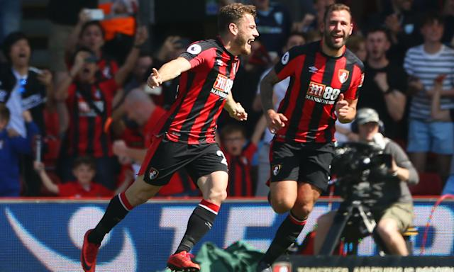 Ryan Fraser celebrates scoring Bournemouth's goal against Swansea.