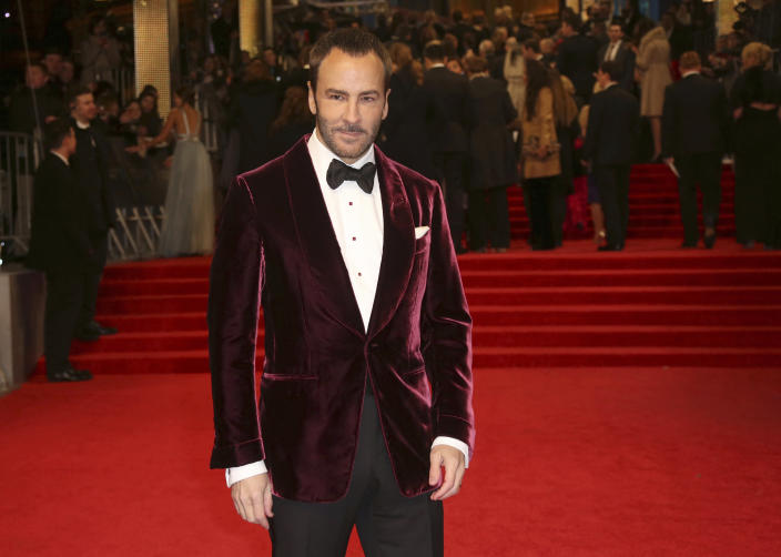 FILE - Tom Ford poses for photographers upon arrival at the British Academy Film Awards in London on Feb. 12, 2017. Ford turns 59 on Aug. 27. (Photo by Joel Ryan/Invision/AP, File)