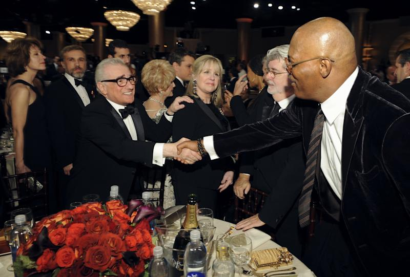 67th ANNUAL GOLDEN GLOBE AWARDS -- Pictured: (l-r) Martin Scorsese, George Lucas, Samuel L. Jackson during the 67th Annual Golden Globe Awards held at the Beverly Hilton Hotel on January 17, 2010 -- Photo by: Vince Bucci/NBCU Photo Bank