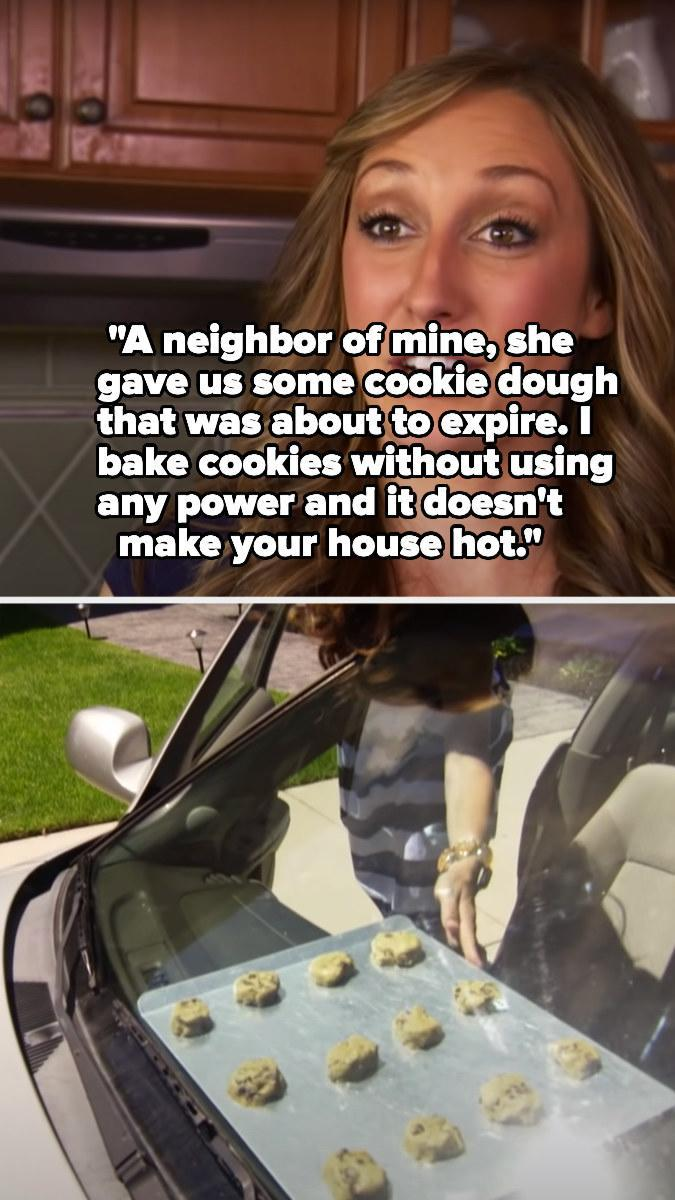 A woman putting raw cookies on the dashboard of her car to bake them