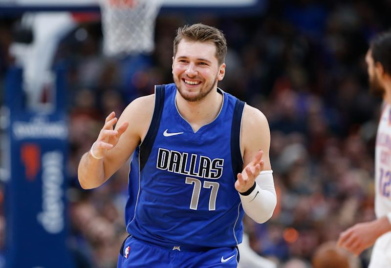 Dec 31, 2019; Oklahoma City, Oklahoma, USA; Dallas Mavericks forward Luka Doncic (77) smiles during the second half against the Oklahoma City Thunder at Chesapeake Energy Arena. Oklahoma City won 106-101. Mandatory Credit: Alonzo Adams-USA TODAY Sports