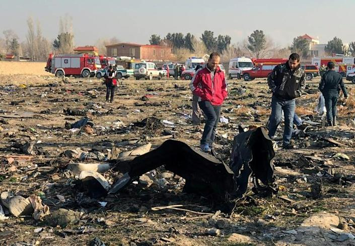 Iranian recovery teams inspect the wreckage of the Ukrainian airliner which crashed shortly after takeoff from Tehran with the loss of all 176 people on board (AFP Photo/-)