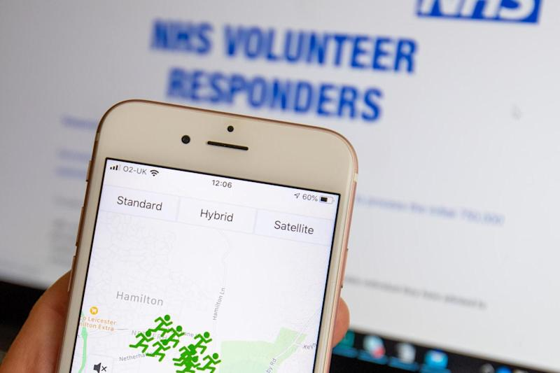 The NHS GoodSAM app, which is used to coordinate the service, on a phone on the first day it was rolled out: PA