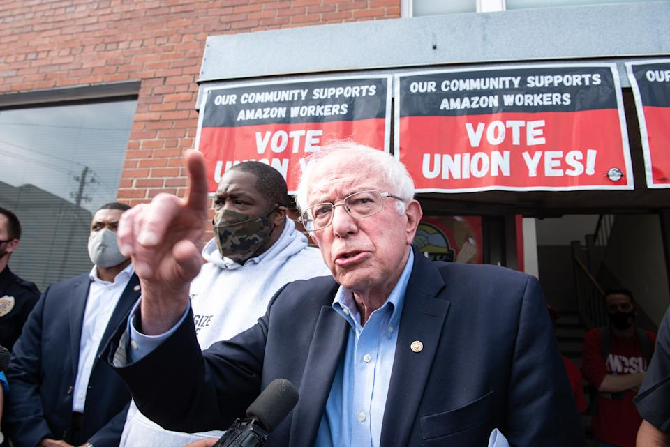 Sen. Bernie Sanders outside the Retail, Wholesale and Department Store Union (RWDSU) headquarters in Birmingham, Ala., U.S., on March 26. (Andi Rice/Bloomberg via Getty Images)
