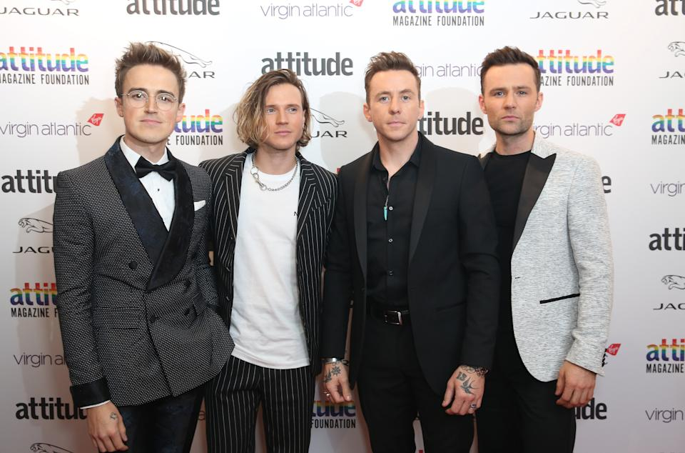 "EDITORIAL USE ONLY File photo dated 09/10/19 of McFly (left to right) Tom Fletcher, Dougie Poynter, Danny Jones and Harry Judd. McFly will feature in an ""intimate and emotional"" one-off ITV special documenting the band�s history."