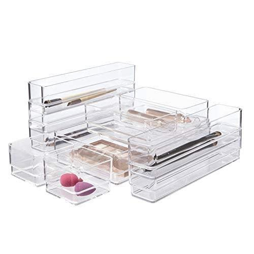 <p>Use these <span>STORi Clear Plastic Makeup &amp; Vanity Drawer Organizers | 10 Piece Set</span> ($26) to keep your drawers organized and clean. From makeup to kitchen utensils, this set can be used for all your organizational needs.</p>