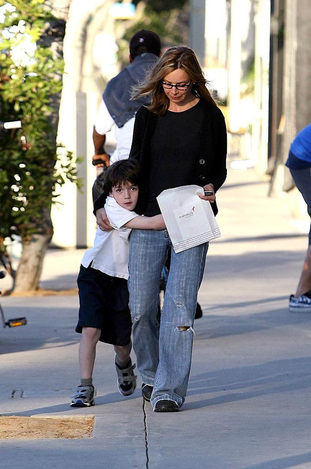 "Calista Flockhart gets a hug from her son Liam. Leo-Lins/<a href=""http://www.x17online.com"" target=""new"">X17 Online</a> - February 7, 2008"