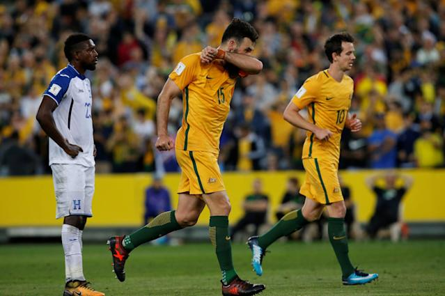 Soccer Football - 2018 World Cup Qualifications - Australia vs Honduras - ANZ Stadium, Sydney, Australia - November 15, 2017 Australia's Mile Jedinak celebrates scoring their third goal to complete his hat-trick REUTERS/Steve Christo
