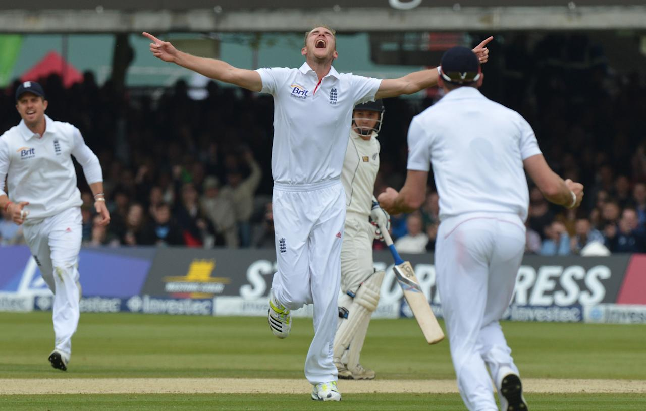 England's Stuart Broad celebrates taking his fifth wicket of the innings, that of New Zealand's Brendon McCullum during the first test at Lord's Cricket Ground, London.