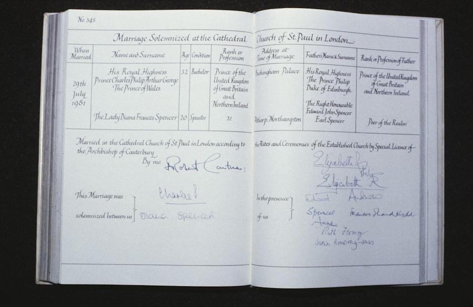 <p>Prince Charles and Princess Diana's signatures, along with those of their family as witnesses, make it <em>official </em>official. </p>