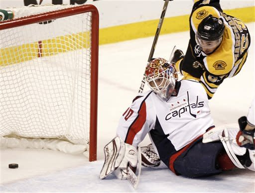Boston Bruins' Brad Marchand scores on Washington Capitals goalie Braden Holtby during the second period of Game 5 in a first-round NHL Stanley Cup playoff hockey series in Boston Saturday, April 21, 2012. (AP Photo/Winslow Townson)
