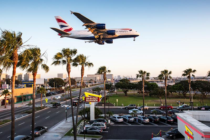 Los Angeles, USA - April 04, 2015: A British Airways Airbus A380 approaching Los Angeles Int. Airport.